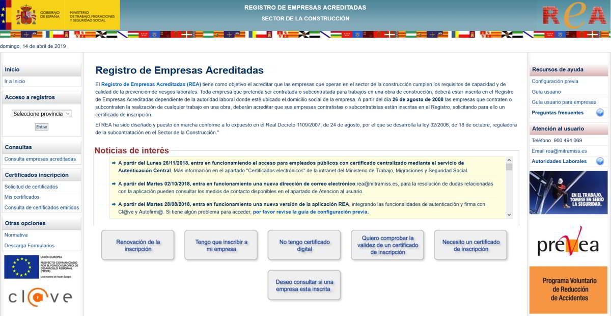 Registro de Empresas Acreditadas (REA) del sector de la construcción